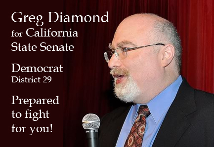 Campaign graphic for Greg Diamond for State Senate campaign
