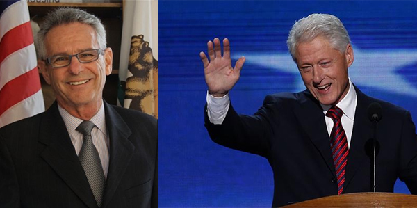 Alan Lowenthal smiling, Bill Clinton waving