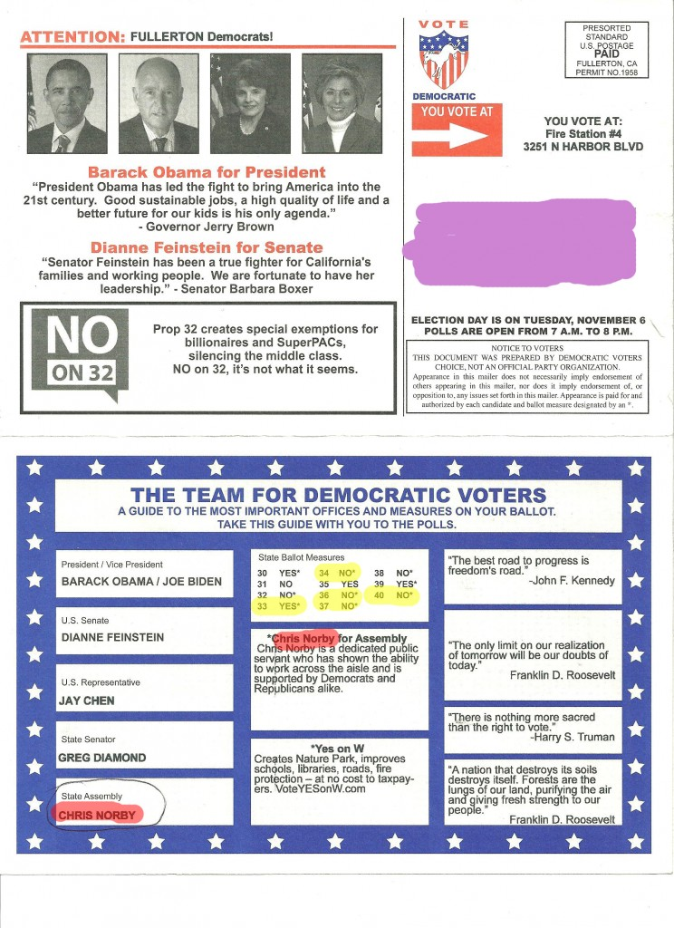 Fake Dems mailer for Fullerton (AD 65)