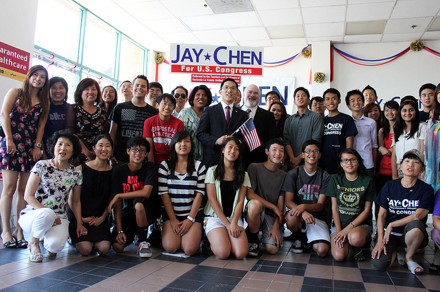 Jay Chen with (mostly) his young campaign volunteers.