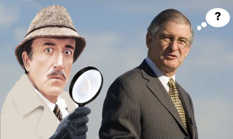 Moxley as Inspector Clouseau, a puzzled Larry Agran