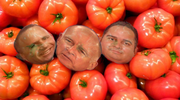 Senate Majority Leader Steinberg, Governor Brown, Speaker Perez as tomatoes