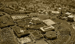Fashion Island (overhead shot, sepia toned)