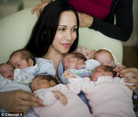 Octomom with six babies