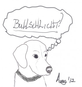 Cartoon of a dog thinking