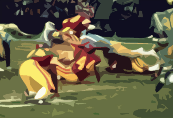 cutout of photo of usc ucla football game