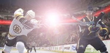 Hockey with lens flare