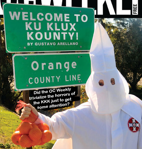 "OC Weekly ""Ku Klux Kounty"" cover showing man in KKK garb holding oranges"