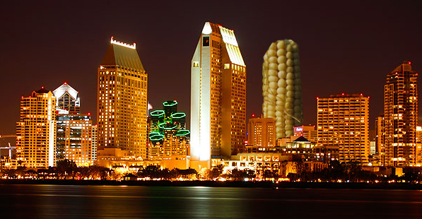 San Diego skyline with huge corn cob building