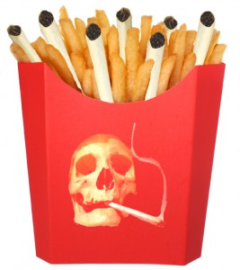 French Fries and Cigarettes in Smoking Skull carton