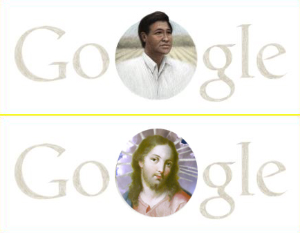 Google Doodle with Cesar Chavez; imagined Google Doodle with Jesus