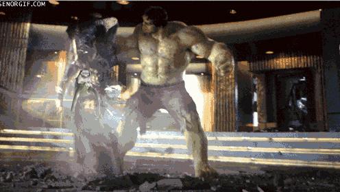 Incredible Hulk smashing Loki, replaced by face of John Moorlach