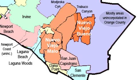 """Nuevo Viejo divided into """"bueno"""" y """"malo"""" regions."""