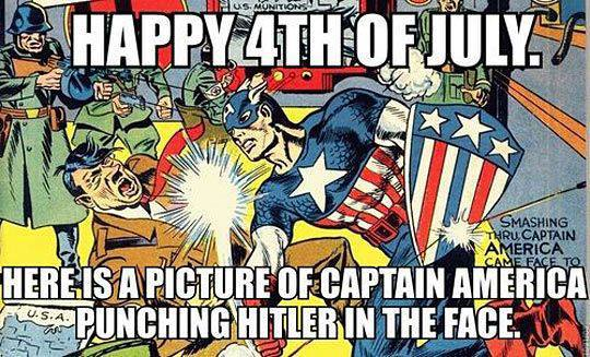 4th of July Captain America punches Hitler