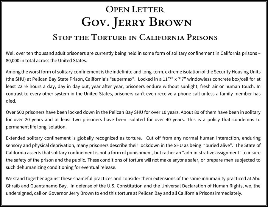 Letter to Jerry Brown on prisoners