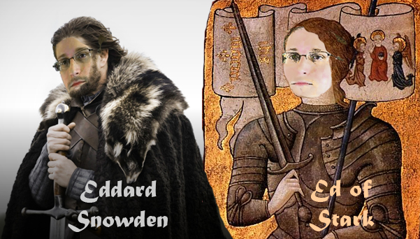 Edward Snowden as Ed Stark and Joan of Arc