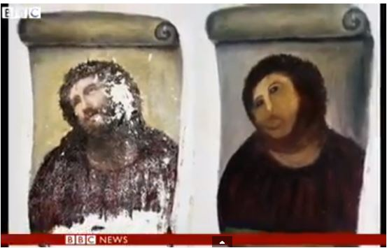 """""""Monkey Christ"""" before and after"""
