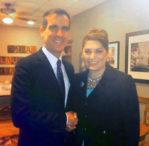 Sharon Quirk-Silva and Eric Garcetti
