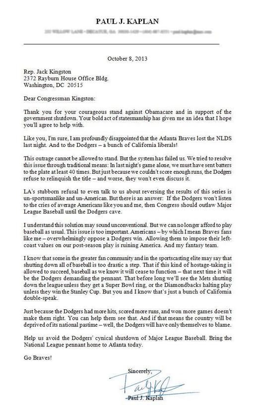 Baseball shutdown letter