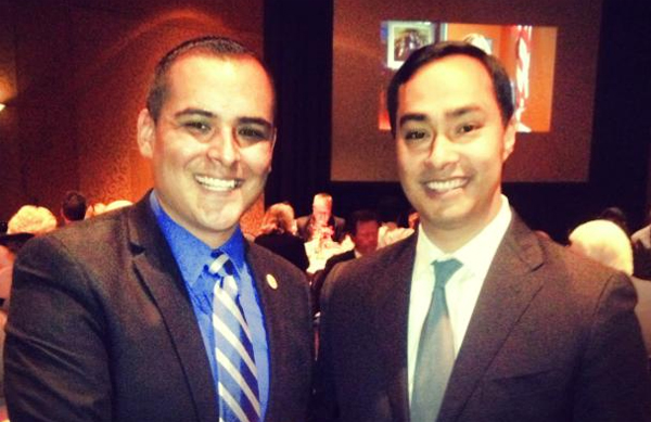 Joaquin Castro, right, with Anthony Duarte