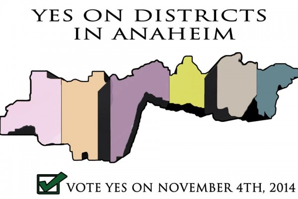 Anaheim 6-stripe map for pro-districting campaign