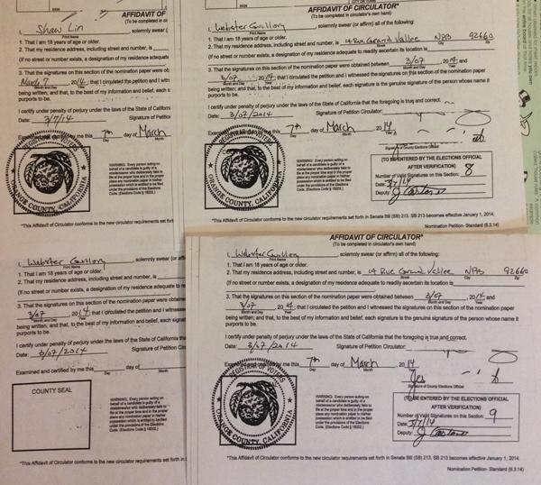 Guillory signature sheets - back