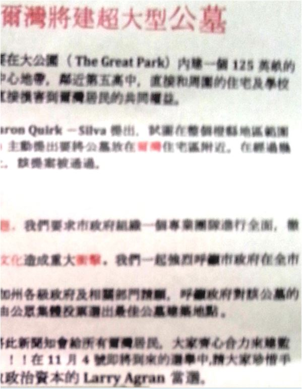 Cemetery - Chinese Language Flyer - text - large - right slice