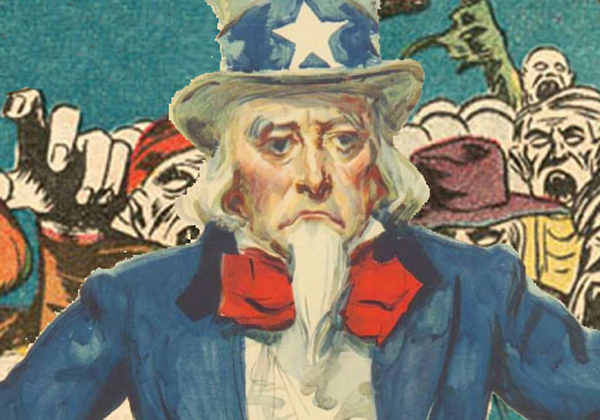Uncle Sam Sad with crowd
