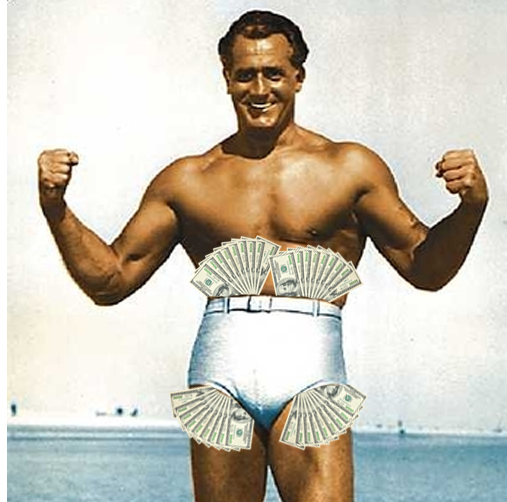 Charles Atlas with fans of $100 bills