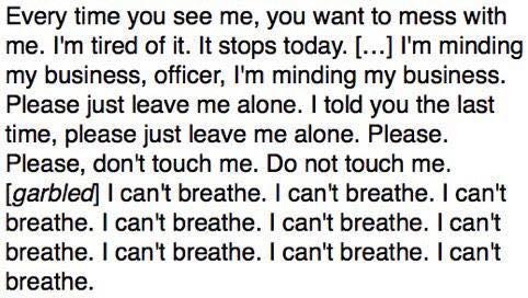 Eric Garner's Last Words