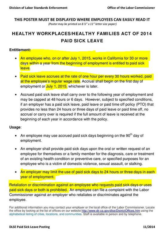 Paid Sick Leave Poster