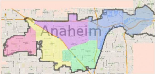Anaheim Map - Districts 1 thru 5