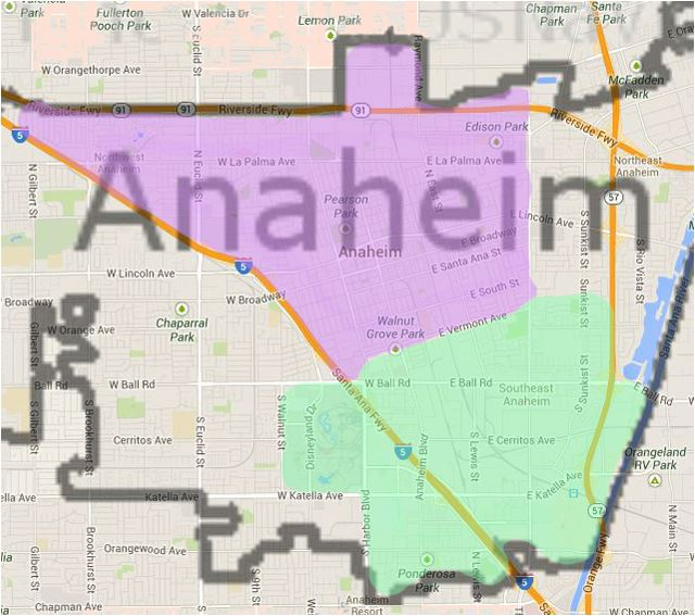 Anaheim Map - Districts 3 and 4