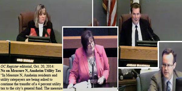 From left: Register's anti-Measure N Tax editorial, Kris Murray, Debbie Moreno, Jordan Brandman, Michael Houston