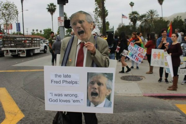 Westboro's former coach Fred Phelps may or may not have risen from his own grave to apologize for being a Cheney.  (Photo credit, Donna Acevedo.)