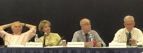 The Anaheim Committee on Electoral Districts retired Judges James Jackman, Nancy Wieben Stock, Edward J. Wallin (Chair), and Stephen Sundvold (Vice Chair).  Not fitting in the frame: Judge Thomas Neal Thrasher.  Photo courtesy of Nancy West.)