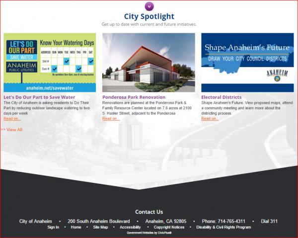 Anaheim Website 4 - Splash Page 3 - City Spotlight