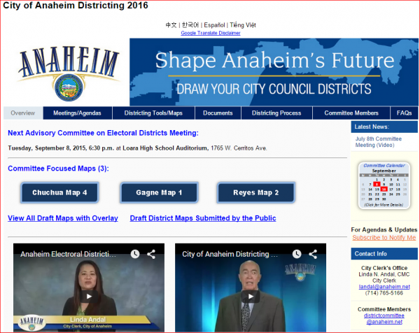 Anaheim Website 7 - Districts Home Page