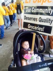 Mollie Halverson-Cano protests El Super.  (She refused to march, however.)