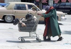 homeless lady shopping cart
