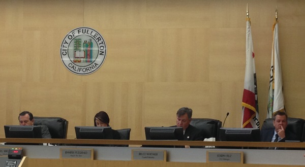 From left: Fullerton Council members Mayor Greg Sebourn, Jennifer Fitzgerald, and Doug Chaffee, with City Manager Joe Felz.