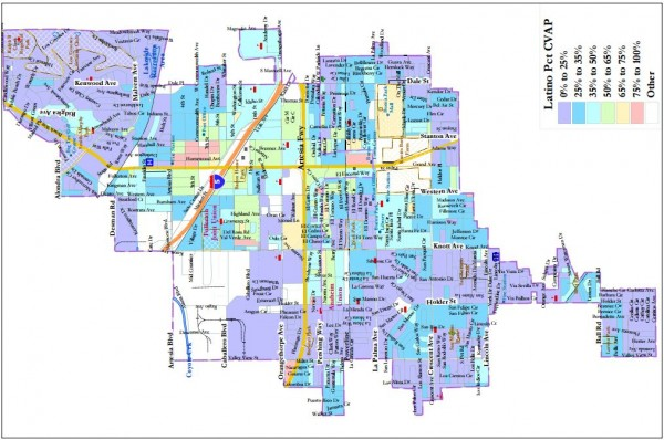 Map of Latino Population Density in Buena Part.  (Rotated to fit page; NORTH IS AT THE LEFT.)