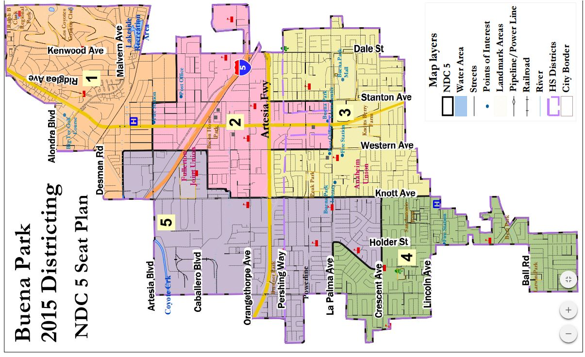 Demographers' 5-district map.  (Rotated to fit; NORTH IS AT LEFT.)