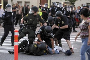anaheim police tackle protestor