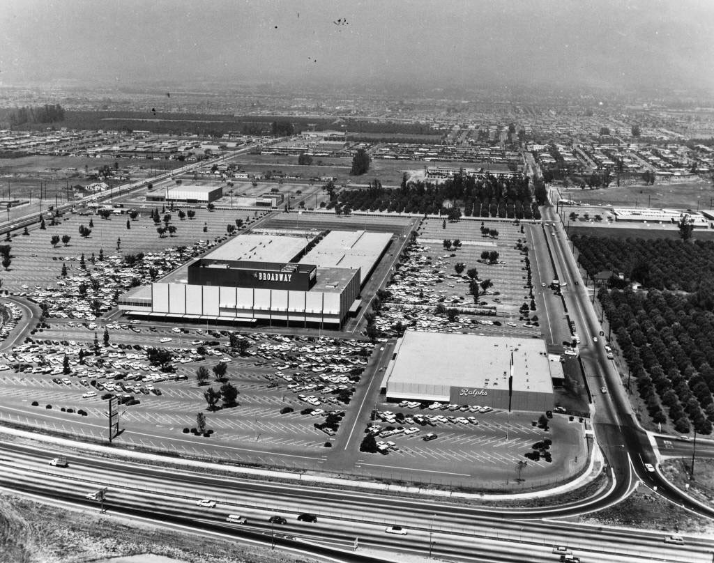 An aerial view of the shopping center now known as Anaheim Plaza on North Euclid Street taken in 1959 when The Broadway, the sign for which is visible in the center of the photo, anchored the center.