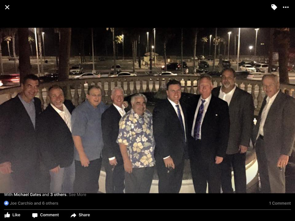 From the left – Jeff Snow- Rainbow Disposal; John Ethridge; Joe Carchio- ex-Mayor of HB; Patrick Brenden – HB Planning Commission and Council Candidate; Dave Garafalo – felon & ex-Mayor of HB; Michael Gates – HB City Attorney; Michael Posey – HB City Councilman; Weikko Werta – Chairman of AES, chairman and chair of the HB Chamber of Commerce board; Fred Wilson- HB City Manager.