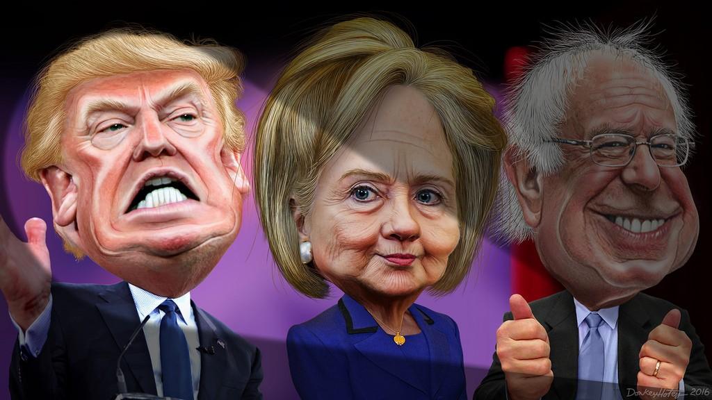 trump hillary bernie caricature