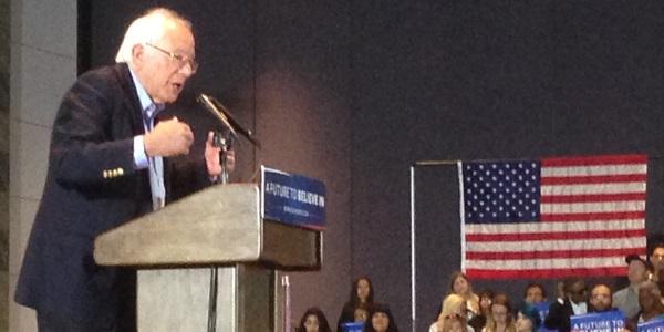Bernie Sanders in Anaheim, making a point.
