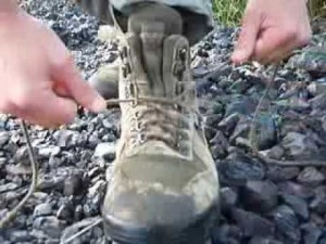 lacing up boots