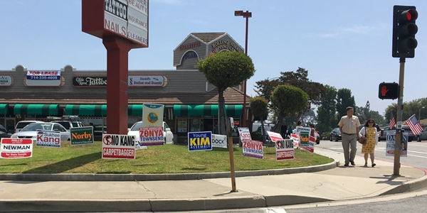 The signs out at Cigarette Plaza at the Fullerton-Brea border the weekend before Election Day